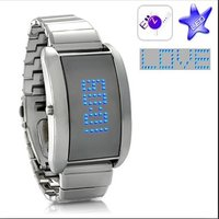 Blue Fiction Metal Alloy LED Watch with Scrolling Text