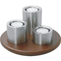 Trio Set Of Tea Lite Candle Holder With Wooden Base