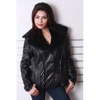 Black Ladies Leather Coat