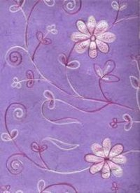 Pink Color Embroidered Handmade Papers