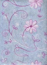 Silk Handmade Paper With Embroidery