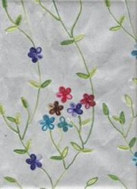 Multicolor Floral Embroidery Handmade Papers