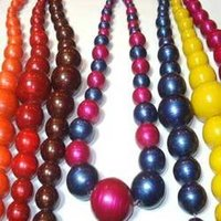 Wooden Painted Beaded Necklace