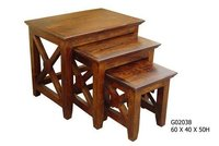 Handmade Wooden Stool Set