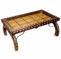 Coffee Table With Iron And Brass Fitting Work