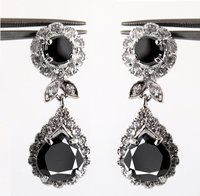 Designer Black Diamond Tear Drop Earring
