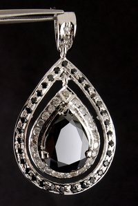 Designer Black Diamond Pear Shaped Pendant