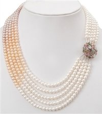 Water Pearl Designer 5 Strand Necklace