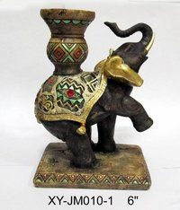 Elephant Statue Polyresin Candle Holder