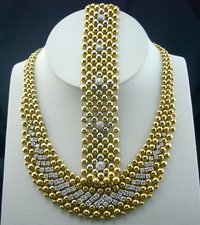 Gold And Diamond Necklace And Bracelet Set
