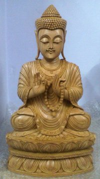 Wooden Sitting Kamal Budha 