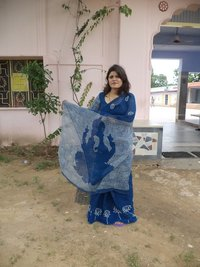 Calligraphy Blue Water Om Saree