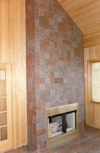 Pinwheel Pattern Tiles On Wall And Fireplace