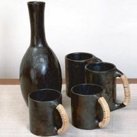 Black Pottery Beer Mug