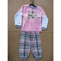 Kids Pink And Grey Night Suits