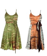 Stylish Short Hand Tie Dyed Silk Fabric Dress
