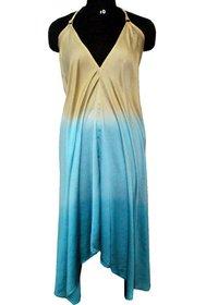 Halter Neck Hand Tie Dyed Silk Fabric Party Wear