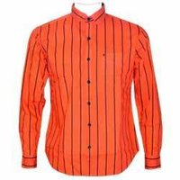 Orange Stripe Casual Shirts