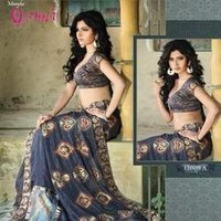 Block Printed Blue Saree