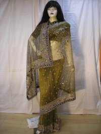 Designer Yellow Embroidery Sarees