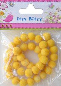 Flocked Beads 10mm Golden Yellow