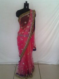 Orange Pink Saree