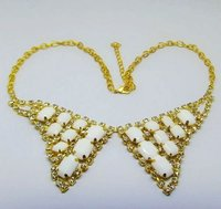 Gold Necklace with Rhinestone Chain