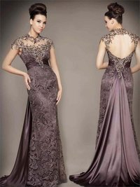 Lace Stunning Beading Cap Sleeves Backless Sheath Evening Dresses
