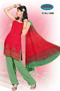 Cotton Embroidery Suit With Cotton Chanderi Dupatta