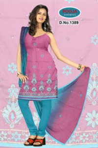 Embroidery Suit With Cotton Chanderi Dupatta