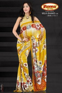 Flower Printed Yellow Sarees Vsm 04