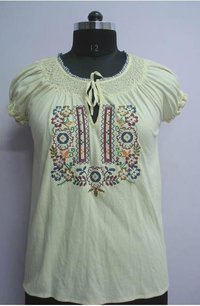 Printed Designer Ladies Embroidery Tops
