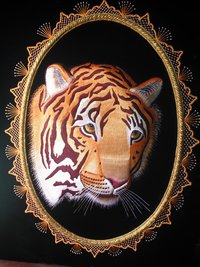 Emboidered Tiger Wall Hanging