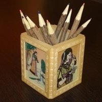 Square Wooden Pen Stand