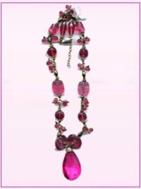 Beautiful Pink Glass Beaded Necklace