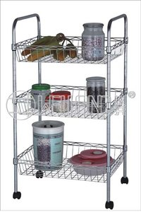 Metal Rolling Kitchen Trolley with Baskets