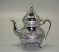 Tea Pot With Chrome Finish