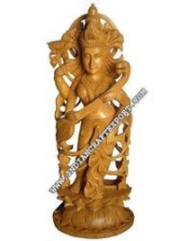 Wood Carving Saraswati Statue