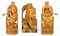 Wood Carving Krishna Statue