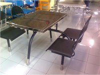 Four Seater Fixed Chair Type Stainless Steel Dining Table