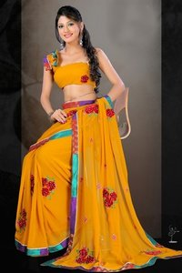 Yellow Fancy Sarees