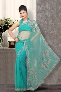 Magnificient Teal Blue Embroidered Saree