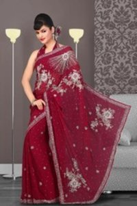 Alluring Brick Red Embroidered Saree