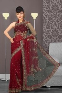 Brick Red Embroidered Saree
