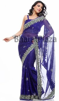 Awesome Navy Blue Sari