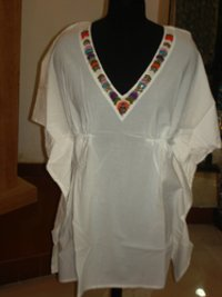V Neck Embroidered Ladies Tops