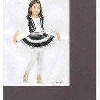 Girls Black White And Long Frocks
