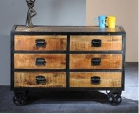 Industrial Wooden Drawer Chest
