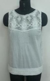 Ladies Embroidered Yoke Top