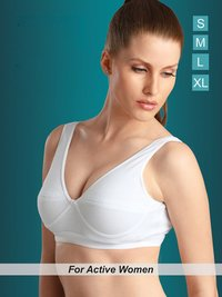 Ladies White Zoom Cotton Sports Bra